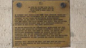 """Hamburg-Landungsbrücken, Denkplakette für das Haganah-Schiff """"Exodus"""", 1947"""